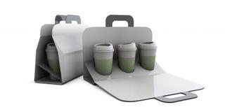 illustration de café de boîte avec des tasses, couverture de carton Photographie stock