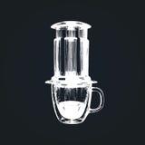 Illustration de cafetière de vecteur Remettez le dispositif esquissé pour la méthode alternative de brassage de café Café, concep Photographie stock