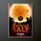 Illustration de calibre d'affiche de vecteur de vente de Halloween avec la lune et battes sur le fond orange de ciel Conception p illustration stock