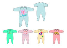 Illustration de calibre de conception de barboteuse de bébé garçon de tissu de débardeur d'impression de coffre de motif Images libres de droits