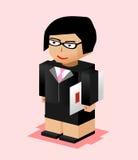 Illustration de caractère de femme d'affaires La femme d'affaires apportent le dossier Fonctionnement de femme d'affaires Concept Photo libre de droits