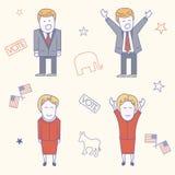 Illustration de caractères de candidats d'élection des Etats-Unis Image stock