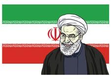 Illustration de caricature de bande dessinée de Hassan Rouhani Vector Portrait Drawing avec le drapeau de l'Iran 11 octobre 2017 Image libre de droits