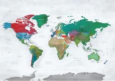 Illustration de carte du monde dans des effets de couleur d'eau Photographie stock libre de droits