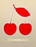 Illustration de carte postale de salutation de cerise Photo libre de droits