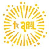 Illustration de carte de voeux du jour des imbéciles heureux sur le fond blanc 1er avril lettring tiré par la main avec des émoti illustration stock
