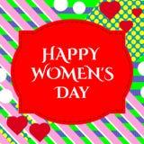 illustration de carte de voeux heureuse de jour du ` s de femmes du 8 mars élégant avec le signe des textes de typographie de let illustration libre de droits