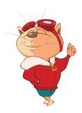 Illustration de Cat Aircraft Pilot mignonne le chef heureux de crabots mignons effrontés de personnage de dessin animé de fond a  Illustration Libre de Droits