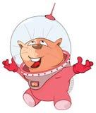Illustration de Cat Astronaut mignonne le chef heureux de crabots mignons effrontés de personnage de dessin animé de fond a isolé Photos libres de droits
