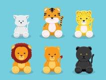 Illustration de Cat Panthera Doll Cartoon Vector Image stock