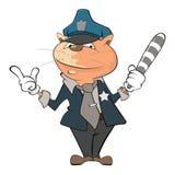 Illustration de Cat Police Officer mignonne le chef heureux de crabots mignons effrontés de personnage de dessin animé de fond a  Photo libre de droits
