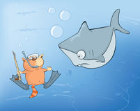 Illustration de Cat Underwater Adventures mignonne Photographie stock