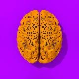Illustration de cerveau pixelated par orange Photo libre de droits