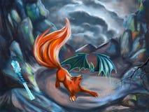 Illustration de CG. pour des histoires d'imagination avec le renard et la batte photos libres de droits