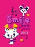 Illustration de chat et de souris, copie de tee-shirt illustration stock