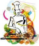 Illustration de chef dans la cuisine. Image libre de droits