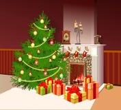 Illustration de cheminée avec des cadeaux Photos libres de droits