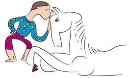 Illustration de cheval et de garçon illustration libre de droits