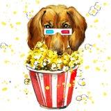 Illustration de chien avec le fond texturisé d'aquarelle d'éclaboussure Image stock