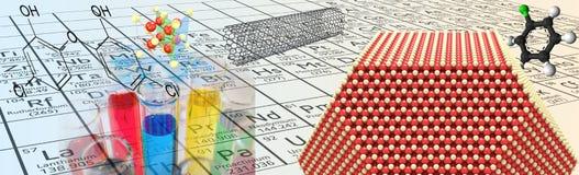 Illustration de chimie grande avec Mendeleev à l'arrière-plan Images libres de droits