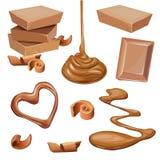 Illustration de chocolat dans la tuile, copeaux, liquide Images libres de droits