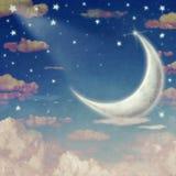 Illustration de ciel nocturne avec les nuages, la lune et les étoiles Image stock