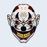 Illustration de clown mauvais avec les yeux rouges Photos stock