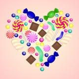 Illustration de coeur de sucrerie sur le fond rose illustration stock