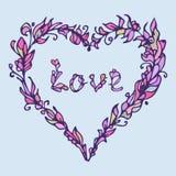 Illustration de coeur Griffonnage tiré par la main d'amour Couleurs roses et pourpres Photographie stock
