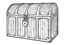 Illustration de coffre au trésor, dessin, gravure, encre, schéma, vecteur illustration libre de droits