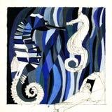 Illustration de composition abstraite d'un monde animal de l'eau illustration libre de droits
