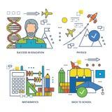 Illustration de concept - éducation et succès dans l'étude, les disciplines d'école illustration de vecteur