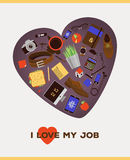 Illustration de concept d'affaires - amour d'I mon travail Images stock