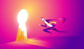 Illustration de concept d'affaires d'un homme d'affaires entrant dans le trou de la serrure avec l'icône du dollar illustration stock