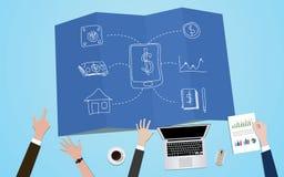 Illustration de concept d'apps de finances avec le travail d'équipe sur cela sur la planification Image libre de droits