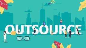 Illustration de concept d'externalisation Idée de trouver le nouveau personnel et les sources Travailleurs d'extérieur de société illustration de vecteur