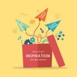 Illustration de concept d'inspiration avec le vol plat de papier hors de la boîte Photos stock