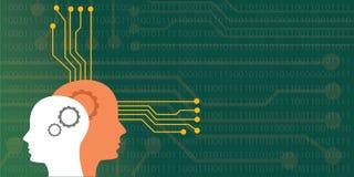 Illustration de concept d'intelligence artificielle avec le robot humain principal avec le neuro- système de conseil illustration stock