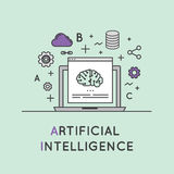 Illustration de concept d'intelligence artificielle et d'apprentissage automatique Photos stock