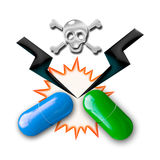 Illustration de concept d'interactions médicamenteuses photos stock