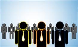 Illustration de concept de beaucoup de chefs : une rangée des candidats ou les employeurs ou les gens se tenant derrière trois che Images stock