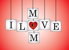 Illustration de concept de mère d'amour d'I (maman) sur les conseils blancs accrochants avec le coeur rouge Photos stock