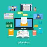 Illustration de concept de matériaux d'éducation Outils électroniques pour l'éducation Photos libres de droits