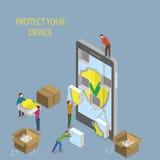 Illustration de concept de protection de périphérique mobile illustration stock