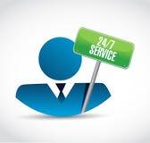 24-7 illustration de concept de signe d'avatar de service Photos stock