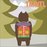 Illustration de concept de voyage avec le trave d'ours de randonneur illustration de vecteur