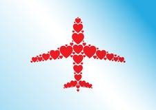 Illustration de concept de voyage d'amour Des coeurs rouges plats sont arrangés dans l'avion comme la forme Image libre de droits
