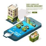 Illustration de concept des achats en ligne Smartphone différent de achat d'utilisation d'outils Photo libre de droits