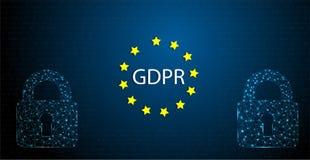 Illustration de concept de GDPR Abréviation générale de règlement de protection des données illustration stock