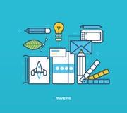 Illustration de concept - marquage à chaud et identité d'entreprise, aussi bien outils illustration stock